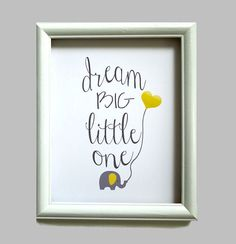 Dream Big Little One Elephant Nursery Art by LilysNurseryShop