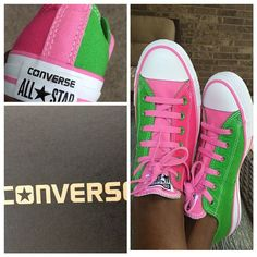 Pink and green Converse sneakers