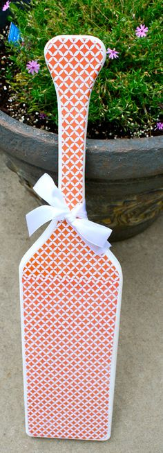 Preppy Orange Honey Comb Patterned Paddle by KraftsbyKristie https://www.etsy.com/shop/KraftsbyKristie?ref=pr_shop_more