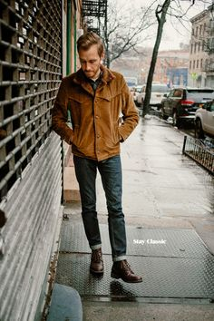 An excellent example of a very natty look that is not expensive to assemble.THE LOOK: Jacket: Vintage Corduroy - Crawford Denim & Vintage - $42 (similar, 2) Shirt: Linen - American Eagle - $39 (similar) Jeans: Levi's 511 in Rigid Dragon - Nordstrom - $50 Boots: High Fidelity in burgundy - Eastland - 6pm - $79 (more sizes) Watch: Timex Easy Reader - Target - $30  Watch Strap: Hadley-Roma in Honey Oil Tan - Amazon - $18