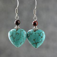 Pendientes de corazón turquesa regalos damas de honor nos