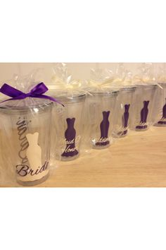 Bridesmaid gift idea. I also love this idea but with Tervis cups.  At Tervis I know you can get them personalized so I was thinking maybe a travel mug with a picture of each 'maid on it!
