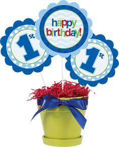 Blue 'Happy Birthday' Stick - Set of Nine 1st Birthday Centerpieces, Happy Birthday, Fun, Sticks, Affair, Polka Dot, Baby, Dekoration, Happy Brithday