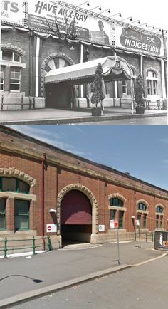 Central Station decorated for the Royal Visit in 1954 and the same spot today. [1954 - State Library of NSW/Today - Google Street View. By Phil Harvey]