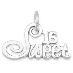 Sweet 16 charm ($14) ❤ liked on Polyvore featuring jewelry, pendants, sterling silver charms pendants, charm jewelry, charm pendant, sterling silver charms and sterling silver jewelry