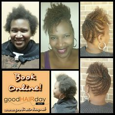 Two Strand Twists: Curls! Two Strand Twist Up Do! Relaxed Style: Short Cut, Waves and Curls Relaxed Styles, Natural Styles, Keratin Treatments, Custom Color, Precision Cuts, Make up, Facials, Waxing and more!  Book online!  www.goodhairday.net