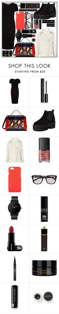 """""""Red, black and platform boots"""" by evakasnioska ❤ liked on Polyvore featuring Dorothy Perkins, Chanel, Mulberry, River Island, NARS Cosmetics, The Case Factory, Balmain, South Lane, Christian Dior and Kat Von D"""