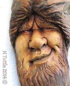Original Pompous Pompadour Wood Spirit Carving Cagey Character OOAK Nancy Tuttle | eBay