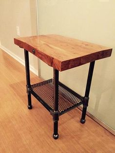 Rustic Industrial Wood End Table or Night Stand Pipe Legs Like the lower shelf option--add casters? Rustic Industrial Furniture, Industrial Interior Design, Vintage Industrial Decor, Western Furniture, Pipe Furniture, Repurposed Furniture, Industrial Pipe, Furniture Stores, Cheap Furniture