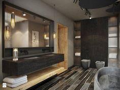 Wrocław - Sołtysowice - Duża łazienka w bloku bez okna, styl industrialny - zdjęcie od razoo-architekci