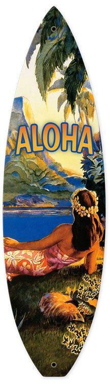 Hawaii Aloha Surfboard Metal Sign