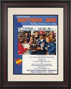 """NASCAR Framed 10.5"""" x 14"""" Daytona 500 Program Print Race Year: 22nd Annual - 1980 by Mounted Memories. $90.99. NC03221980 Race Year: 22nd Annual - 1980 Features: -Original cover art from that day's race program. -Vibrant colors restored, alive and well. -Brown finished wood frame with double matte. -Officially licensed by NASCAR. -10.5"""" W; x 14"""" H; paper print. -Overall dimensions 21 3/4"""" H x 18 1/4 W. -Made in the USA."""
