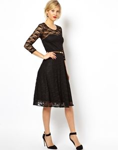 af613039e5 ASOS Midi Skater Dress In Lace With 3 4 Sleeves And Belt Midi Skater Dress