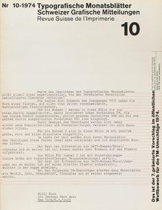 TM SGM RSI, Typografische Monatsblätter, issue 10, 1974. Cover designer: Wolfgang Weingart