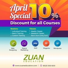 Are you looking for the #weekend #courses? We are happy to say that Zuan Education is launching weekend classes for the sole purpose of working professionals. Now, learn Web Designing, Web Development and Digital marketing on Sundays too!! Book your seat now!! For more info call: 9025500600 Have a look at course details here>>>http://goo.gl/93y7QO  #webdesigning #digitalmarketing #webdevelopment #training