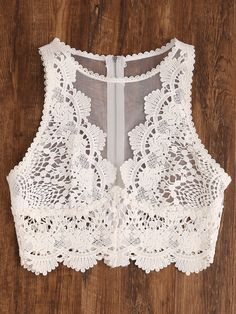 To find out about the Scallop Lace Applique Exposed Zip Tulle Tank Top at SHEIN, part of our latest Tank Tops & Camis ready to shop online today! Kurta Designs, Blouse Designs, Diy Clothes, Clothes For Women, Boho Fashion, Fashion Outfits, Scalloped Lace, Mode Style, Chiffon