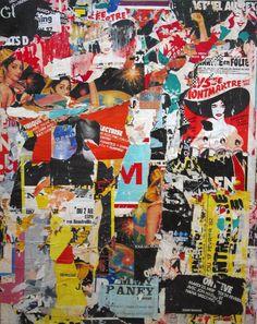 """Jacques Villeglé - 16 Rue Saint Denis  15 mai 1982    decollage mounted on canvas  63 3/4 x 51"""""""