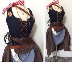 Medium Pirate Halloween Costume, Adult Women's Pirate Costume - Including Jewelry, Denim Corset Top, Real Leather Belts & Skirts