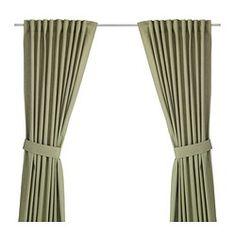 IKEA - INGERT, Gordijnen met embrasse, 1 paar, , De gordijnen zorgen dat er minder daglicht binnenkomt en zorgen voor privacy omdat je van buitenaf niet naar binnen kan kijken.De gordijnen kunnen aan een gordijnroede of aan een gordijnrail gehangen worden.Met het plooiband kan je eenvoudig plooien maken. Te completeren met de RIKTIG gordijnhaken.Door de blinde lussen kan je het gordijn direct aan een gordijnroede hangen, maar je kan ook ringen en haken gebruiken.