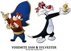 STM - Sam n Sylvester by BoscoloAndrea on DeviantArt Old Cartoons, Disney Cartoons, Looney Tunes Characters, Disney Characters, Fictional Characters, Tweety, Bugs, Yosemite Sam, Merrie Melodies
