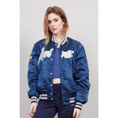 Vintage patch work 90's blue Avirex college bomber jacket ❤ liked on Polyvore featuring outerwear, jackets, vintage bomber jacket, blouson jacket, oversized jacket, blue bomber jacket and blue jackets