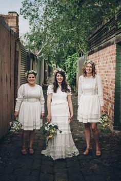 Bride and bridesmaids all in white | Bride wears Rue de Seine dress | Indie Melbourne Wedding by Lucy Spartalis