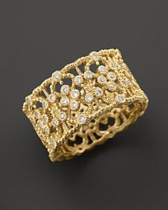 Judith Ripka 18K Gold Laurel Band Ring with Diamonds, .49 ct. t.w.