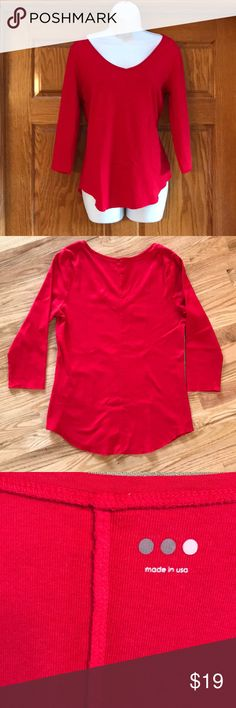 "NWT Three  Dots 3/4 Sleeve Size L Top This is a true red Three Dots Women's top. Size large, Bust 3 Sleeve length 18"", Neck to hem back 24"". This us new without tags from Three Dots. Three Dots Tops"