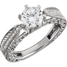 14kt White 1/8 CTW Diamond Semi-Mount Engagement Ring for 6.5mm Round Center