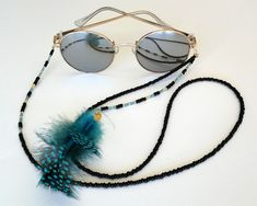 Gray pearls /& iridescent blue and purple glass beads Gift for Mom! Mask LanyardEyeglass Chain and Matching Earrings Combo Glasses Chain