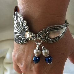 The sterling silver bracelets have been very popular among females. These bracelets are offered in various shapes, sizes and designs. Silver Spoon Jewelry, Silverware Jewelry, Metal Jewelry, Sterling Silver Bracelets, Jewelry Art, Jewelry Design, Silver Rings, Silver Spoons, Diy Utensil Jewelry