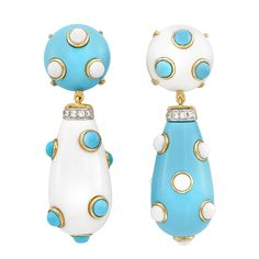 Pair of Gold, White Agate, Turquoise and Diamond Pendant-Earclips 2 round cabochon turquoise & white agate buttons ap. 15.0 mm., drop-shaped pendants ap. 30.0 x 15.2 x 15.2 mm., 10 round diamonds ap. .25 ct.