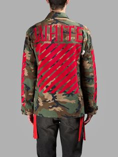 OFF WHITE , EMBROIDERED CAMOUFLAGE JACKET (Red)