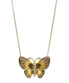 Annoushka Gold And Brown Diamond Butterfly Necklace In Yellow Butterfly Pendant, Butterfly Necklace, Diamond Pendant Necklace, Gold Necklace, Annoushka, Black Rhodium, Carat Gold, Necklace Designs, Butterflies