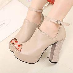 White Chunky Heel Peep Toe Ankle Strap Sandals