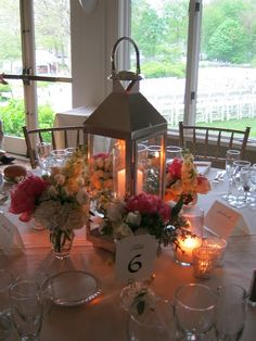 Diana Gould designed lantern centerpieces that were first used outdoors to line the aisle and then repurposed indoors for the reception tables. Lantern Centerpieces, Flower Centerpieces, Wedding Centerpieces, Wedding Table, Fall Wedding, Rustic Wedding, Our Wedding, Dream Wedding, Wedding Decorations