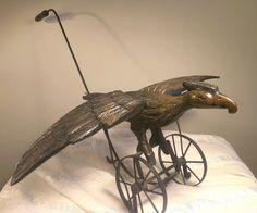Antique Vintage Primitive Folk Art Wooden Eagle Bird Push Toy