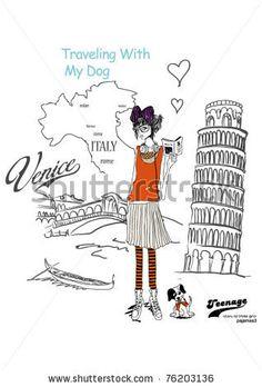 Illustration Girls Italy - 76203136 : Shutterstock