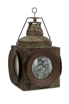 Vintage Naval Lantern- - Rustic - Candles And Candle Holders Nautical Lanterns, Old Lanterns, Antique Lanterns, Rustic Lanterns, Rustic Candles, Pillar Candles, Cottage Furniture, Lantern Candle Holders, Antique Iron