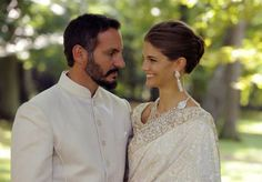 Prince Rahim Aga Khan and Miss Kendra Salwa Spears pose together during their wedding ceremony on 31 Aug 2013 in Geneva, Switzerland