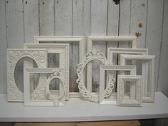 11 Empty ornate picture frames - romantic french country victorian cottage white upcycled frame collection. $158.00, via Etsy.
