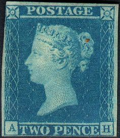 Stamp: Queen Victoria - Two Penny Blue (United Kingdom of Great Britain & Northern Ireland) (Queen Victoria - Line Engraved) Mi:GB 4 Uk Stamps, Rare Stamps, Postage Stamps, Stamp Values, Stamp Catalogue, Kingdom Of Great Britain, Penny Black, Queen Victoria, Northern Ireland