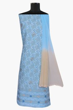 Ada #handembroidered #blue  #cotton #lucknowi #chikankari  Unstitched Suit Piece - A238086