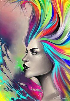 She Comes In Colours by =Twiblodwyn Magic Illusions, Arte Cyberpunk, Dark Art, Female Art, Rainbow Colors, Amazing Art, Photo Art, Fantasy Art, Cool Art