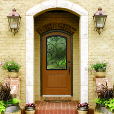Classic-Craft Rustic Collection fiberglass door with Augustine wrought iron decorative glass