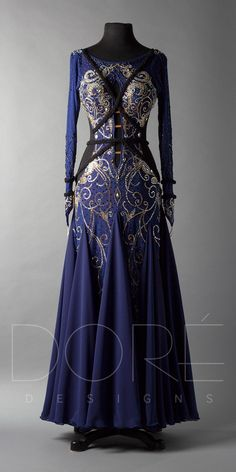 Navy smooth with black braiding and design work Pretty Outfits, Pretty Dresses, Dress Outfits, Fashion Dresses, Fantasy Gowns, Fantasy Clothes, Medieval Dress, Ballroom Dress, Beautiful Gowns