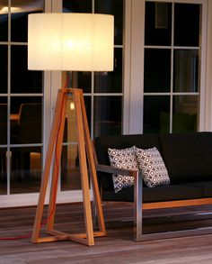 Love this indoor/outdoor modern teak floor lamp | Club by Royal Botania