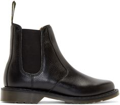 $140, Black Leather Chelsea Boots: Dr. Martens Black Victor Chelsea Boots. Sold by SSENSE. Click for more info: https://lookastic.com/men/shop_items/288970/redirect