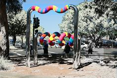 knitted for the city of Wollongong   * metres of knit covered Bert Flugleman's sculpture