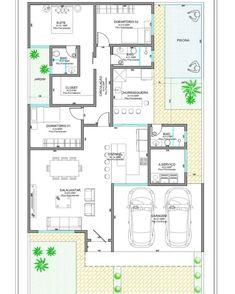 Modelos de casa: 80 ideias e projetos incríveis para criar o seu Bungalow Floor Plans, Bungalow House Design, Design Your Dream House, House Floor Plans, House Layout Plans, House Plans One Story, Tiny House Plans, House Layouts, House Construction Plan